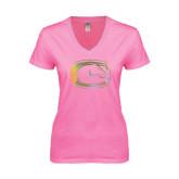 Next Level Ladies Junior Fit Deep V Pink Tee-Official Logo Foil