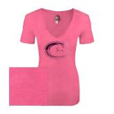 Next Level Ladies Vintage Pink Tri Blend V-Neck Tee-Official Logo Foil
