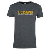 Ladies Dark Heather T Shirt-UC DAVIS U of C