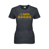 Ladies Dark Heather T Shirt-UC DAVIS Aggies