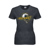 Ladies Dark Heather T Shirt-Go Ags Logo
