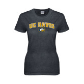 Ladies Dark Heather T Shirt-Arched UC Davis Logo