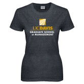 Ladies Dark Heather T Shirt-Graduate School of Management Stacked