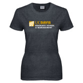 Ladies Dark Heather T Shirt-Graduate School of Management Flat