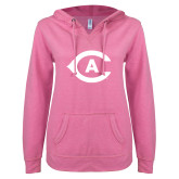 ENZA Ladies Hot Pink V Notch Raw Edge Fleece Hoodie-Secondary Athletics Mark