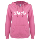 ENZA Ladies Hot Pink V Notch Raw Edge Fleece Hoodie-Script Davis