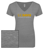 ENZA Ladies Graphite Melange V Neck Tee-UC DAVIS U of C