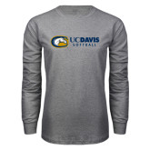 Grey Long Sleeve T Shirt-Softball Logo Flat