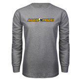 Grey Long Sleeve T Shirt-Aggie Pride