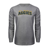 Grey Long Sleeve T Shirt-Arched UC Davis Aggies