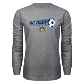 Grey Long Sleeve T Shirt-Soccerball with Flying Ball