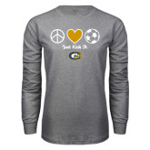 Grey Long Sleeve T Shirt-Soccerball Just Kick It