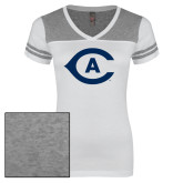 Ladies White/Heathered Grey Juniors Varsity V Neck Tee-Secondary Athletics Mark