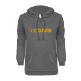 ENZA Ladies Dark Heather V-Notch Raw Edge Fleece Hoodie-UC DAVIS