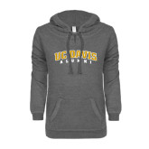 ENZA Ladies Dark Heather V-Notch Raw Edge Fleece Hoodie-Alumni