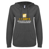 ENZA Ladies Dark Heather V Notch Raw Edge Fleece Hoodie-Graduate School of Management Stacked
