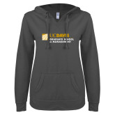 ENZA Ladies Dark Heather V Notch Raw Edge Fleece Hoodie-Graduate School of Management Flat