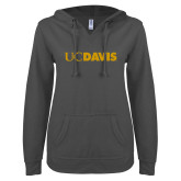 ENZA Ladies Dark Heather V Notch Raw Edge Fleece Hoodie-UC DAVIS