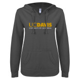 ENZA Ladies Dark Heather V Notch Raw Edge Fleece Hoodie-UC DAVIS U of C