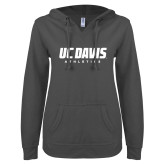 ENZA Ladies Dark Heather V Notch Raw Edge Fleece Hoodie-Primary Athletics Mark