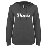 ENZA Ladies Dark Heather V Notch Raw Edge Fleece Hoodie-Script Davis