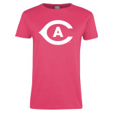 Ladies Fuchsia T Shirt-Secondary Athletics Mark