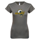 Next Level Ladies SoftStyle Junior Fitted Charcoal Tee-Go Ags Logo