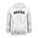 White Fleece Hoodie-Arched UC Davis Aggies