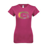 Next Level Ladies SoftStyle Junior Fitted Fuchsia Tee-Official Logo Foil
