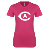Next Level Ladies SoftStyle Junior Fitted Fuchsia Tee-Secondary Athletics Mark