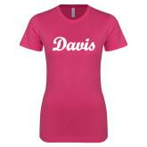 Next Level Ladies SoftStyle Junior Fitted Fuchsia Tee-Script Davis