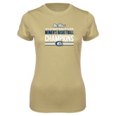 Ladies Syntrel Performance Vegas Gold Tee-Big West Conference 2017 Regular Season Womens Basketball Champions Stacked