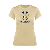 Ladies Syntrel Performance Vegas Gold Tee-Football Vertical