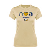 Ladies Syntrel Performance Vegas Gold Tee-Soccerball Just Kick It