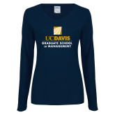 Ladies Navy Long Sleeve V Neck T Shirt-Graduate School of Management Stacked