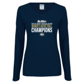 Ladies Navy Long Sleeve V Neck T Shirt-2018 Regular Season Womens Basketball Champions