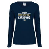 Ladies Navy Long Sleeve V Neck Tee-2018 Regular Season Mens Basketball Champions