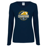 Ladies Navy Long Sleeve V Neck Tee-2018 Big Sky Conference Champions