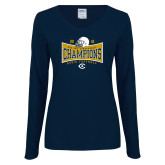 Ladies Navy Long Sleeve V Neck Tee-2018 Football Conference Champions