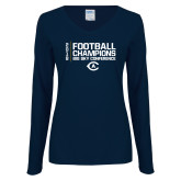 Ladies Navy Long Sleeve V Neck Tee-2018 Big Sky Football Champions