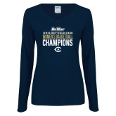 Ladies Navy Long Sleeve V Neck Tee-2019 Womens Basketball Regular Season Champions