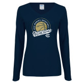 Ladies Navy Long Sleeve V Neck Tee-2019 Womens Basketball Big West Champions