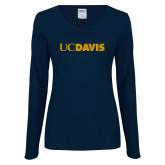 Ladies Navy Long Sleeve V Neck Tee-UC DAVIS