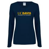 Ladies Navy Long Sleeve V Neck Tee-UC DAVIS U of C