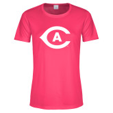 Ladies Performance Hot Pink Tee-Secondary Athletics Mark