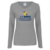 Ladies Grey Long Sleeve V Neck T Shirt-Graduate School of Management Stacked