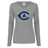 Ladies Grey Long Sleeve V Neck Tee-Secondary Athletics Mark