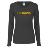 Ladies Dark Heather Long Sleeve V Neck Tee-UC DAVIS