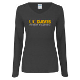 Ladies Dark Heather Long Sleeve V Neck Tee-UC DAVIS U of C