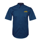 Navy Twill Button Down Short Sleeve-UC DAVIS Aggies